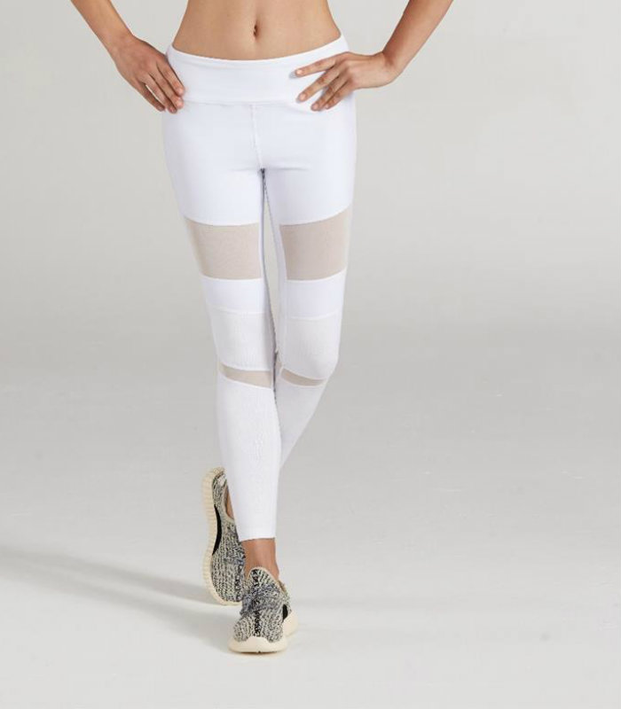 White Printed Workout Mesh Leggings Manufacturer USA