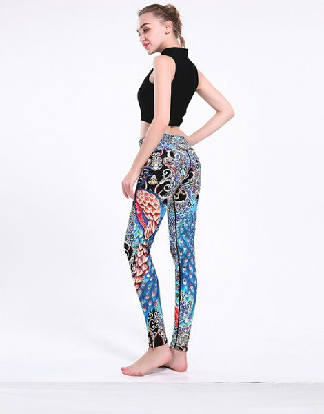 Wholesale High Quality Peacock Printed Leggings