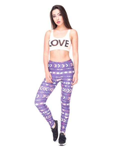 custom purple printed leggings