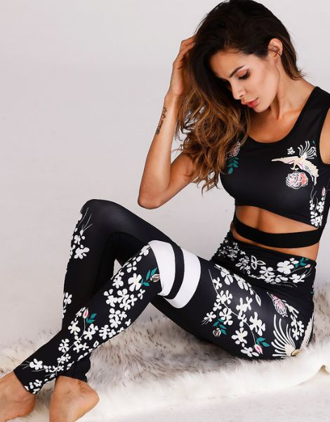 wholesale high waisted flower printed leggings manufacturers