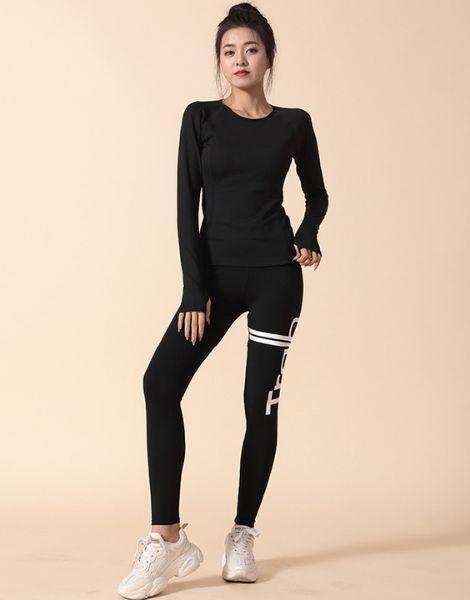 custom bulk high waist sports leggings with long sleeve crop top