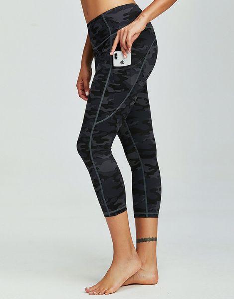 bulk brethable polyester womens capri leggings with pocket