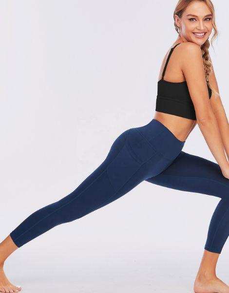 custom polyester super stretchy yoga capri leggings with pocket manufacturers